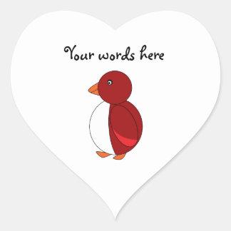 Red penguin heart sticker
