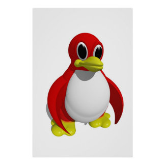 Red Penguin Poster