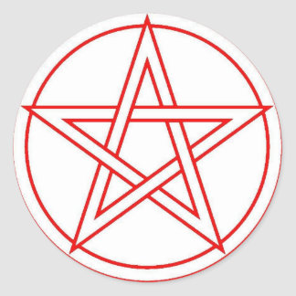 Red Pentacle Classic Round Sticker