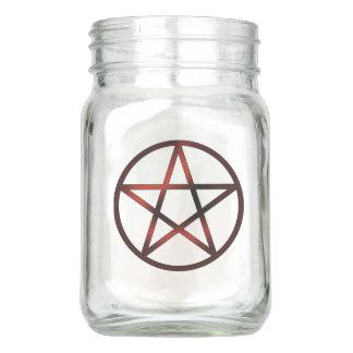 Red Pentacle Mason Jar
