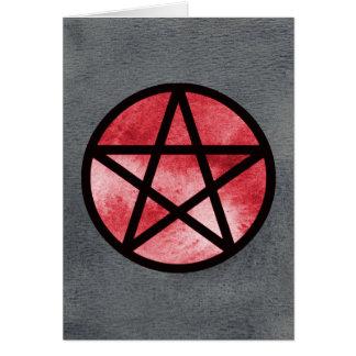 Red Pentacle on Black Watercolor Card