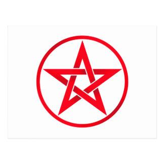 red pentacle postcard