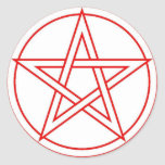 Red Pentacle Round Stickers