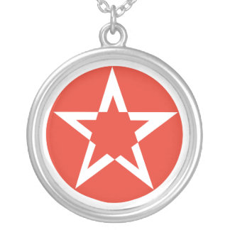 Red Pentacle Star Round Pendant Necklace