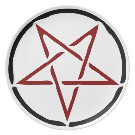 Red Pentagram Dinner Plates