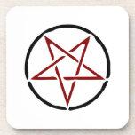 Red Pentagram Drink Coaster