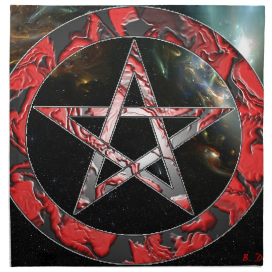 red pentagram napkin