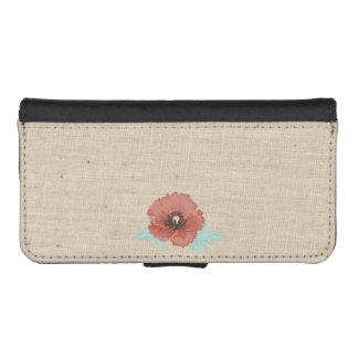 Red Peonies and Faux Linen iPhone Wallet Case