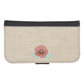 Red Peonies and Faux Linen Samsung Wallet Case