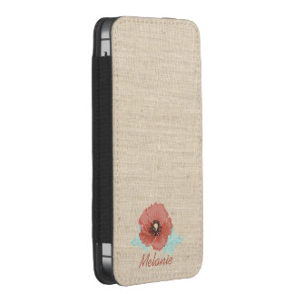 Red Peonies & Faux Linen iPhone Pouch Case