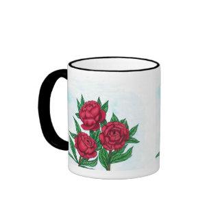 Red Peonies Ringer Mug