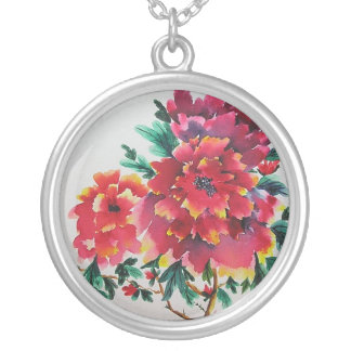 Red Peonies Round Pendant Necklace