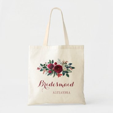 Beach Themed Red peony bouquet winter wedding bridesmaid tote bag