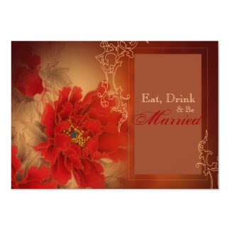 Red Peony Chinese wedding Rehearsal Dinner Card