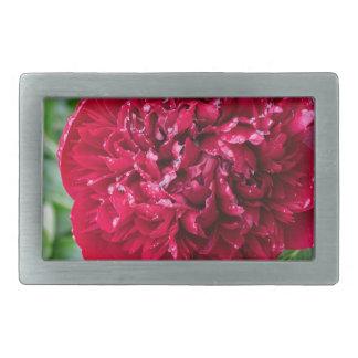 Red Peony Flower Rectangular Belt Buckle