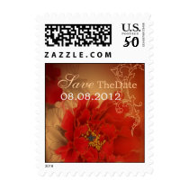 Red Peony Happiness Chinese wedding Save the date Postage