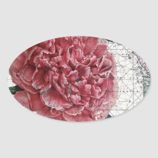 Red Peony Map Oval Sticker