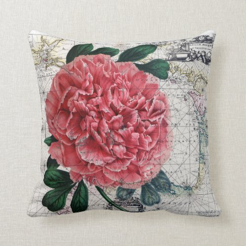 red Peony Map Throw Pillow - rustic decorative throw pilllows