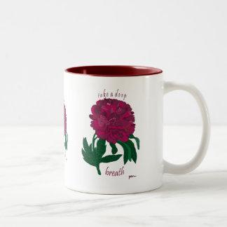 Red Peony Take a Deep Breath Two-Tone Coffee Mug
