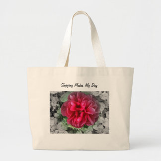 Red Peony Tote Bag with Motif.