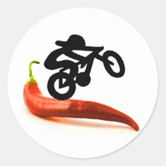 Red Pepper Bike Rider Classic Round Sticker