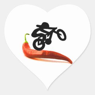 Red Pepper Bike Rider Heart Sticker