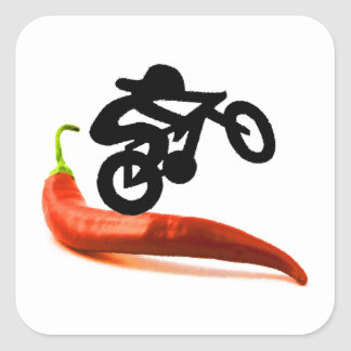 Red Pepper Bike Rider Square Sticker