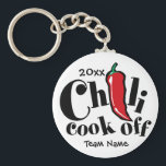 "Red Pepper Chili Cook Off Contest Keychain<br><div class=""desc"">It&#39;s the Annual Chili Cook Off and this is perfect for your team. Customize the text to add the year and your team name (or competition name or Chili Champ!) This design is on many other products perfect for the yearly event!</div>"