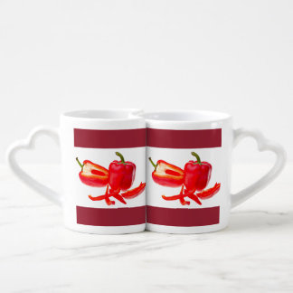 Red pepper coffee mug set