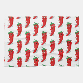Red Pepper Diva Cartoon Pattern Hand Towel