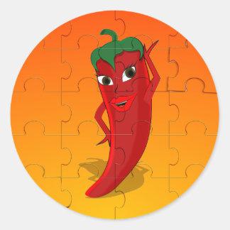 Red Pepper Diva Jigsaw Puzzle Classic Round Sticker