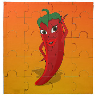 Red Pepper Diva Jigsaw Puzzle Cloth Napkin