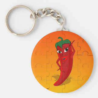 Red Pepper Diva Jigsaw Puzzle Keychain