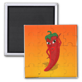 Red Pepper Diva Jigsaw Puzzle Magnet
