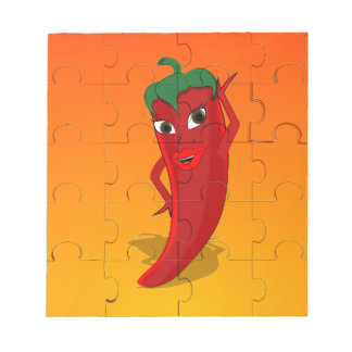 Red Pepper Diva Jigsaw Puzzle Notepad