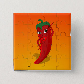 Red Pepper Diva Jigsaw Puzzle Pinback Button