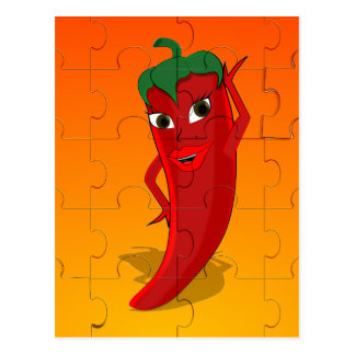 Red Pepper Diva Jigsaw Puzzle Postcard