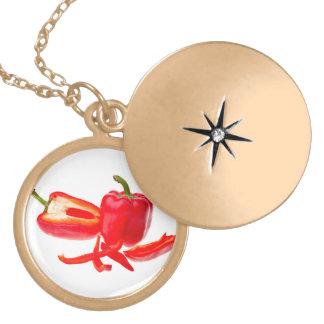 Red pepper locket necklace