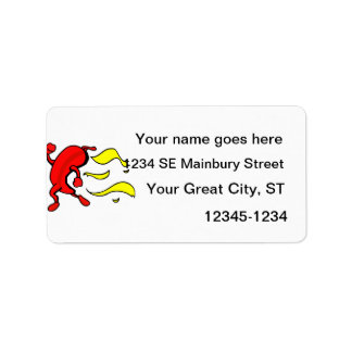 Red pepper running yellow flames behind custom address label