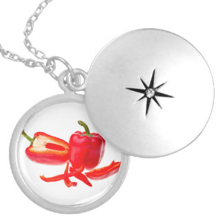 Red pepper silver plated necklace