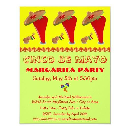 "Red Pepper Sombrero Margarita Cinco De Mayo Party 4.25"" X 5.5"" Invitation Card"