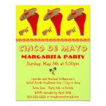 Red Pepper Sombrero Margarita Cinco De Mayo Party 4.25x5.5 Paper Invitation Card