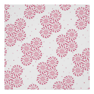 Red Peppermint Candy Christmas Sweets Pattern Poster