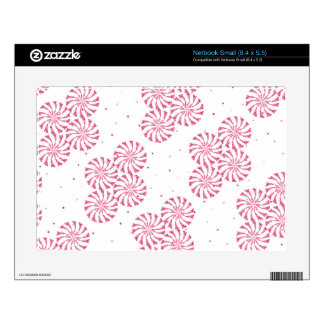 Red Peppermint Candy Christmas Sweets Pattern Decal For Small Netbook
