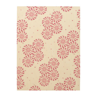 Red Peppermint Candy Christmas Sweets Pattern Wood Print