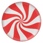 Red Peppermint Candy Melamine Plate
