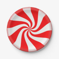 Red Peppermint Swirls Paper Plates