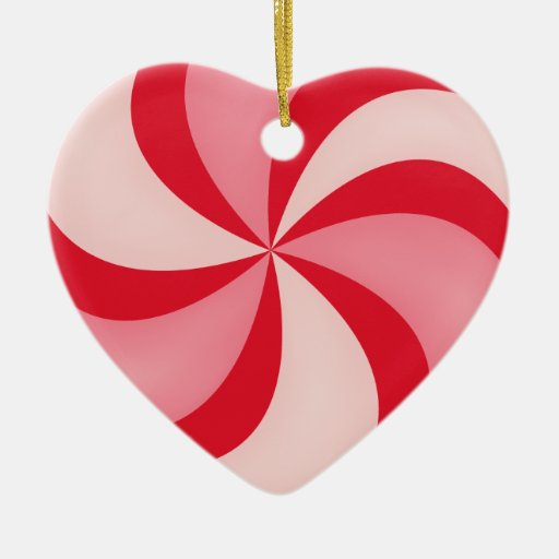 Red Peppermint Swirly Candy Ornament