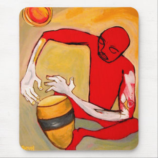 red percussionist mouse pad