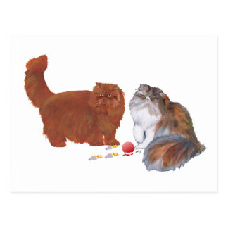 Red Persian and Calico Persian w/Ornament Postcard